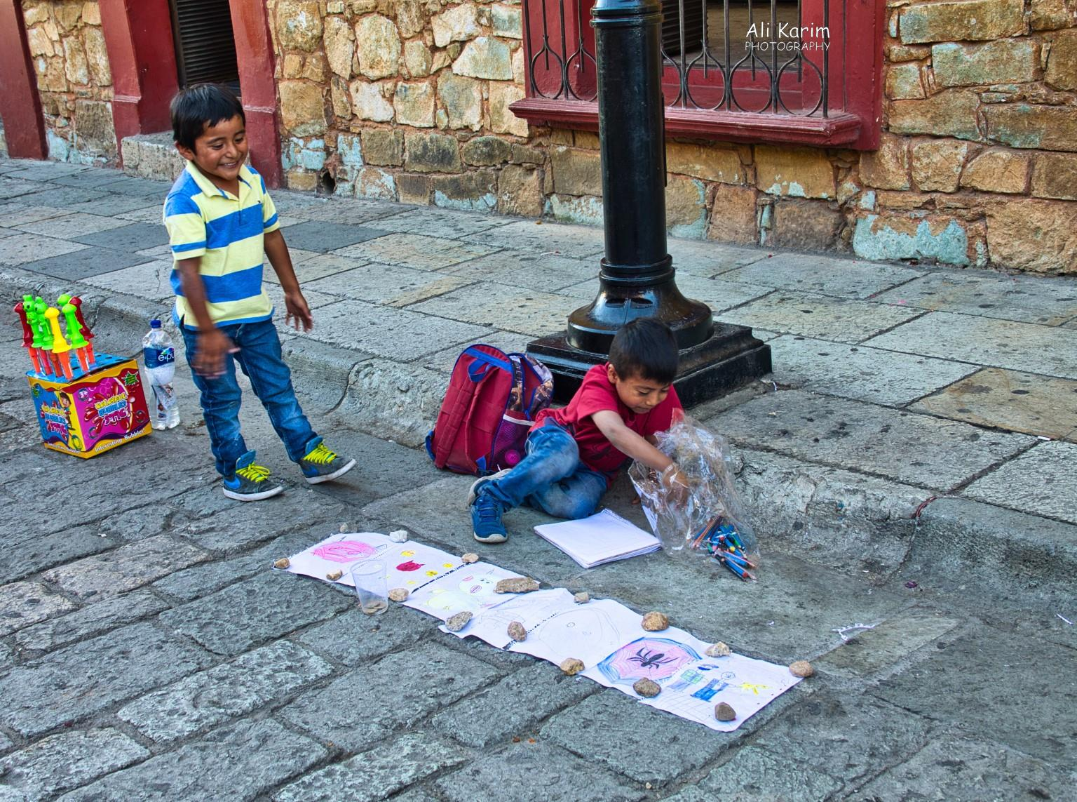 Oaxaca, Mexico Enterprising youngsters on the pedestrian streets