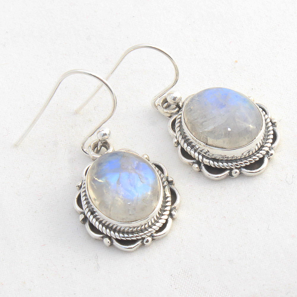 Rainbow-Moonstone-925-Sterling-Silver-Earrings-Round-Jewelry-Mothers-Day-Gift thumbnail 7