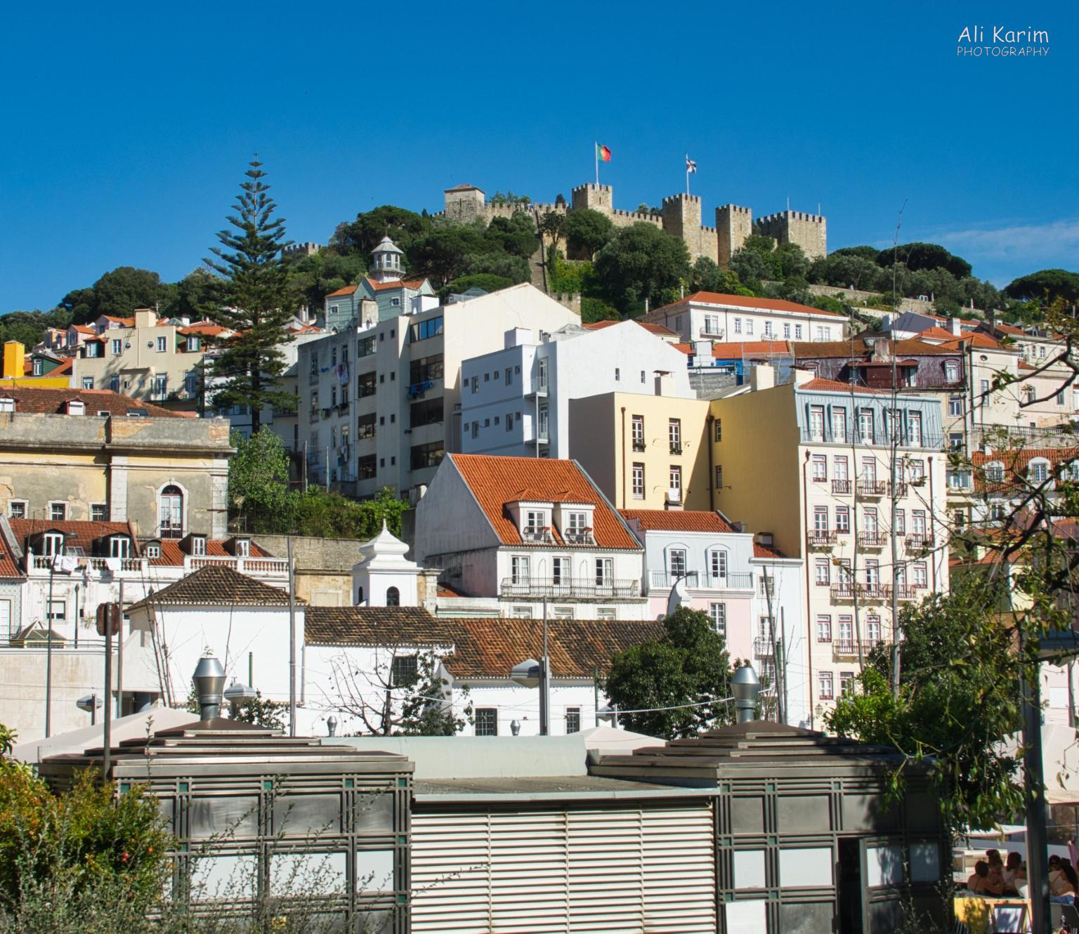 Lisbon Portugal: View of the Moors Castle (Castelo de São Jorge) on the hilltop above Lisbon from Martim Moniz barrio