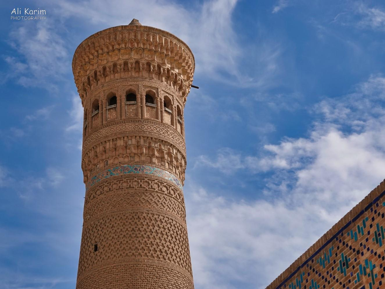 Bukhara, Oct 2019, Close-up of the minaret, showing the delicate and intricate work on its façade
