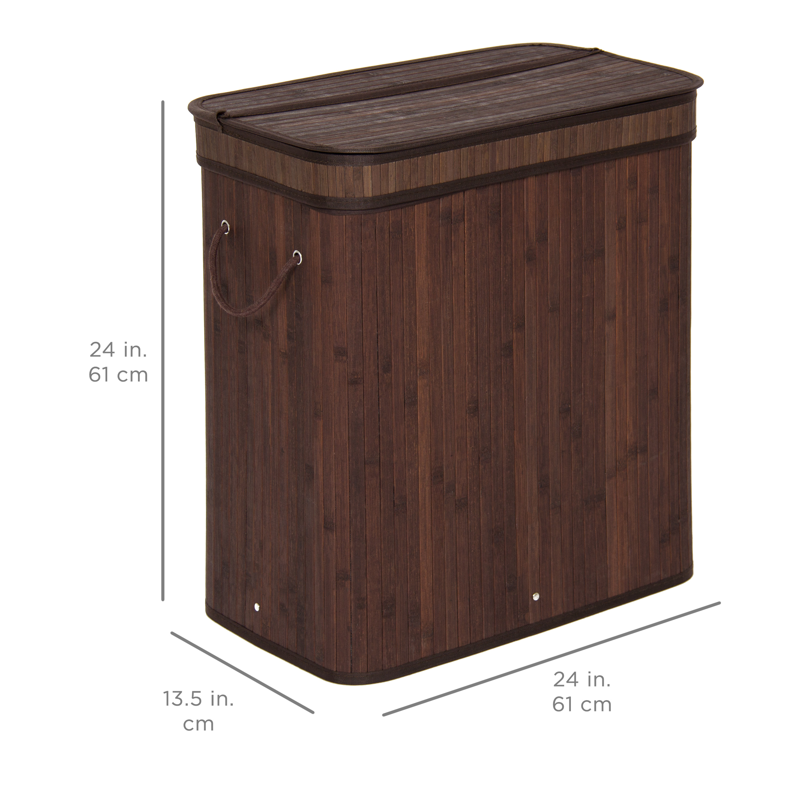 Best choice products bamboo double hamper laundry basket dark brown ebay - Bamboo clothes hamper ...