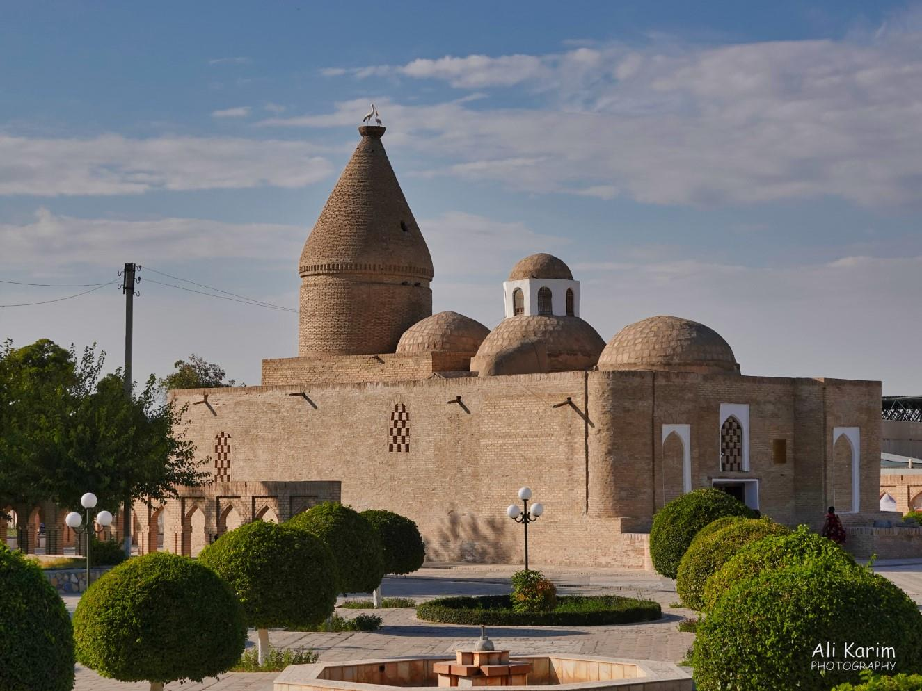 Bukhara, Oct 2019, Interesting mosque near the Citadel; note the nesting birds on the top of the largest dome