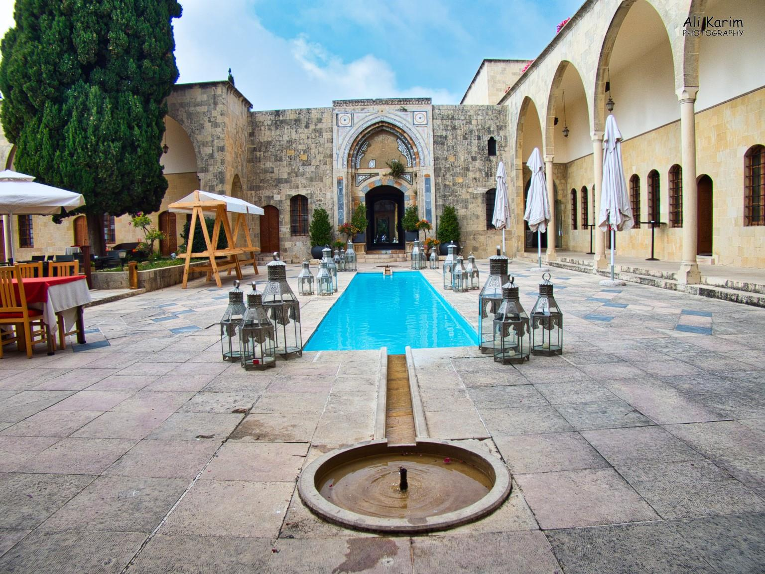 Druze and the Chouf Mountains Beautiful courtyard of the Mir Amin Palace hotel, with the typical Arabic water channel pools