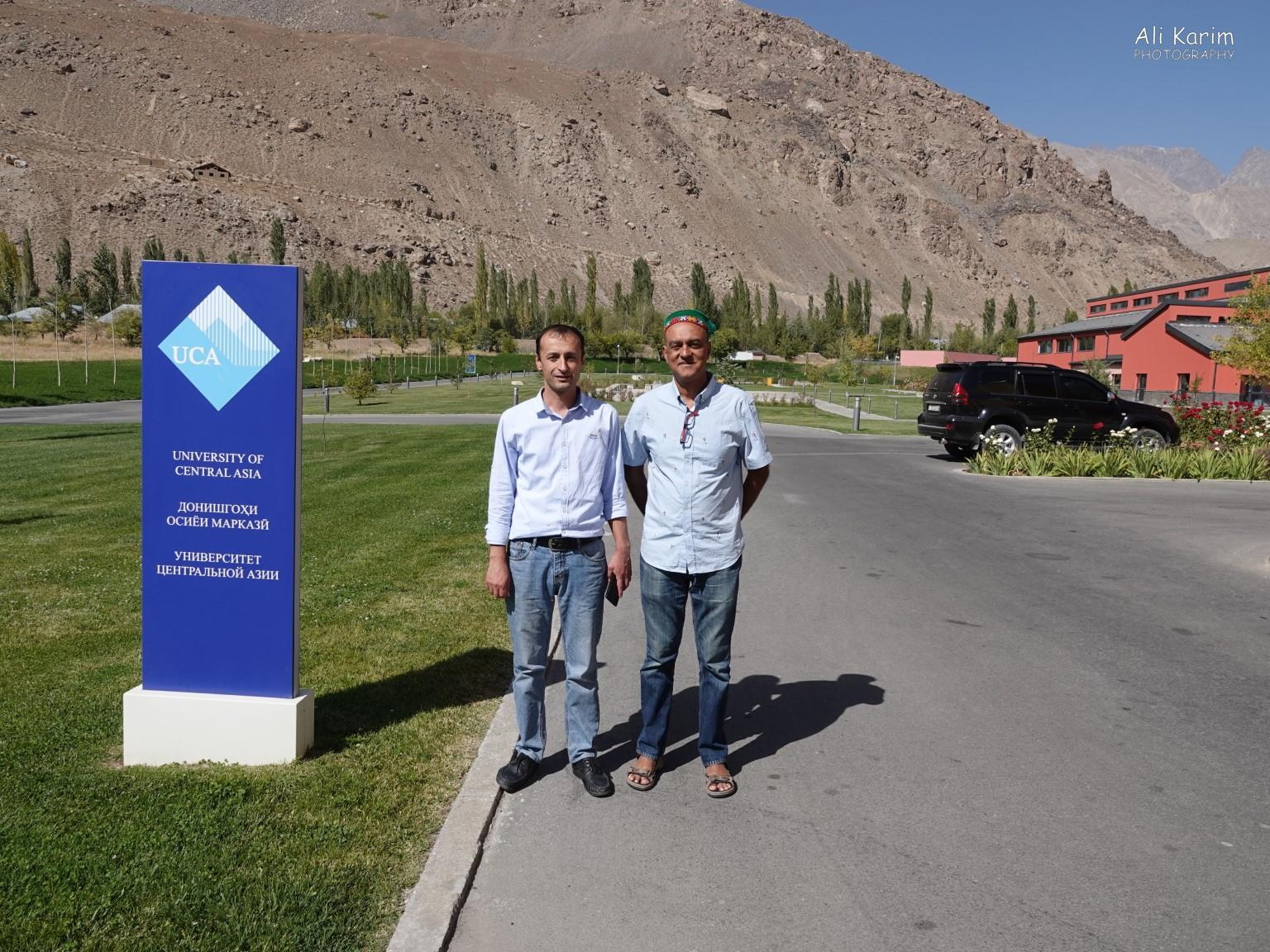 More Khorog, Tajikistan With Zulov, my host and guide, at the UCA Khorog campus entrance