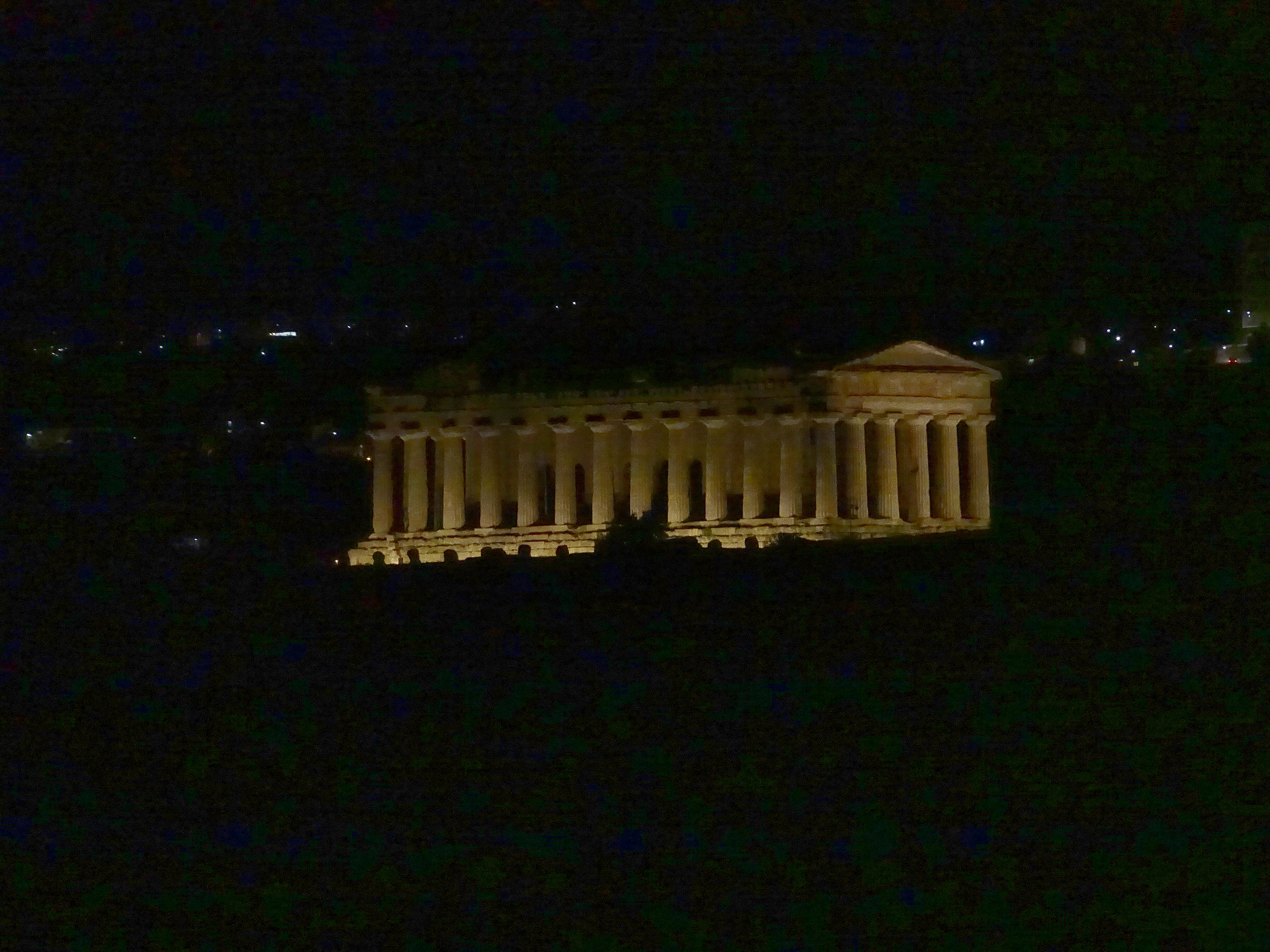 Temple of Concordia at night