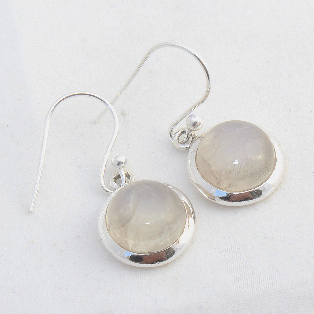 Rainbow-Moonstone-925-Sterling-Silver-Earrings-Round-Jewelry-Mothers-Day-Gift thumbnail 3