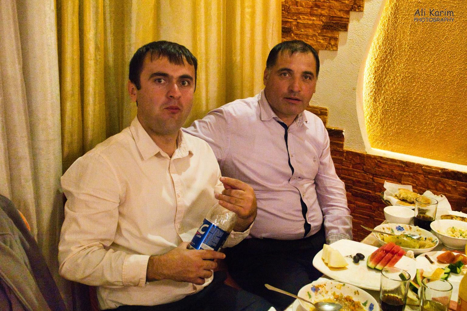 Onto Khorog, Tajikistan, Masrur on right and his friend took good care of me at their table