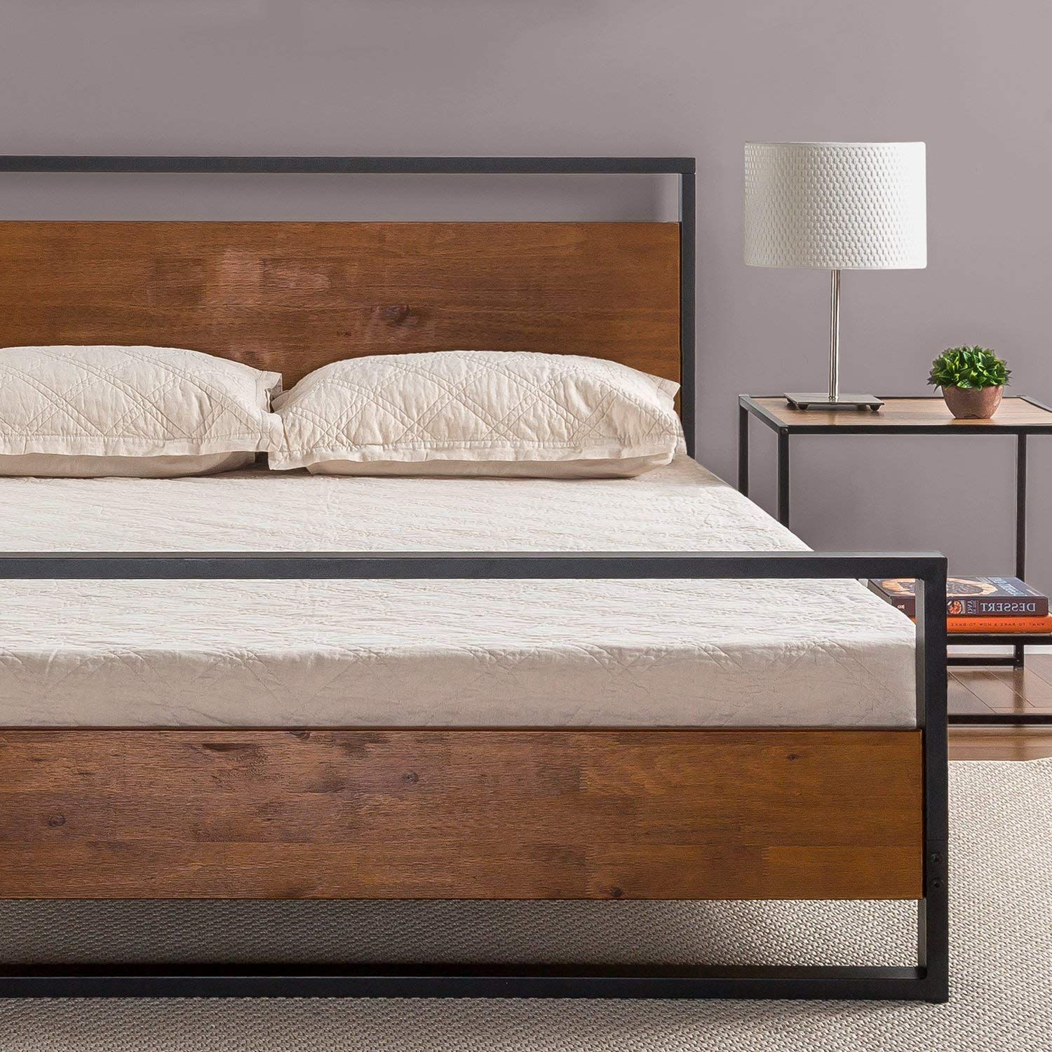 Zinus-Ironline-Metal-Wood-Bed-Frame-Queen-Single-Double-King-Base-Mattress-Pine thumbnail 12