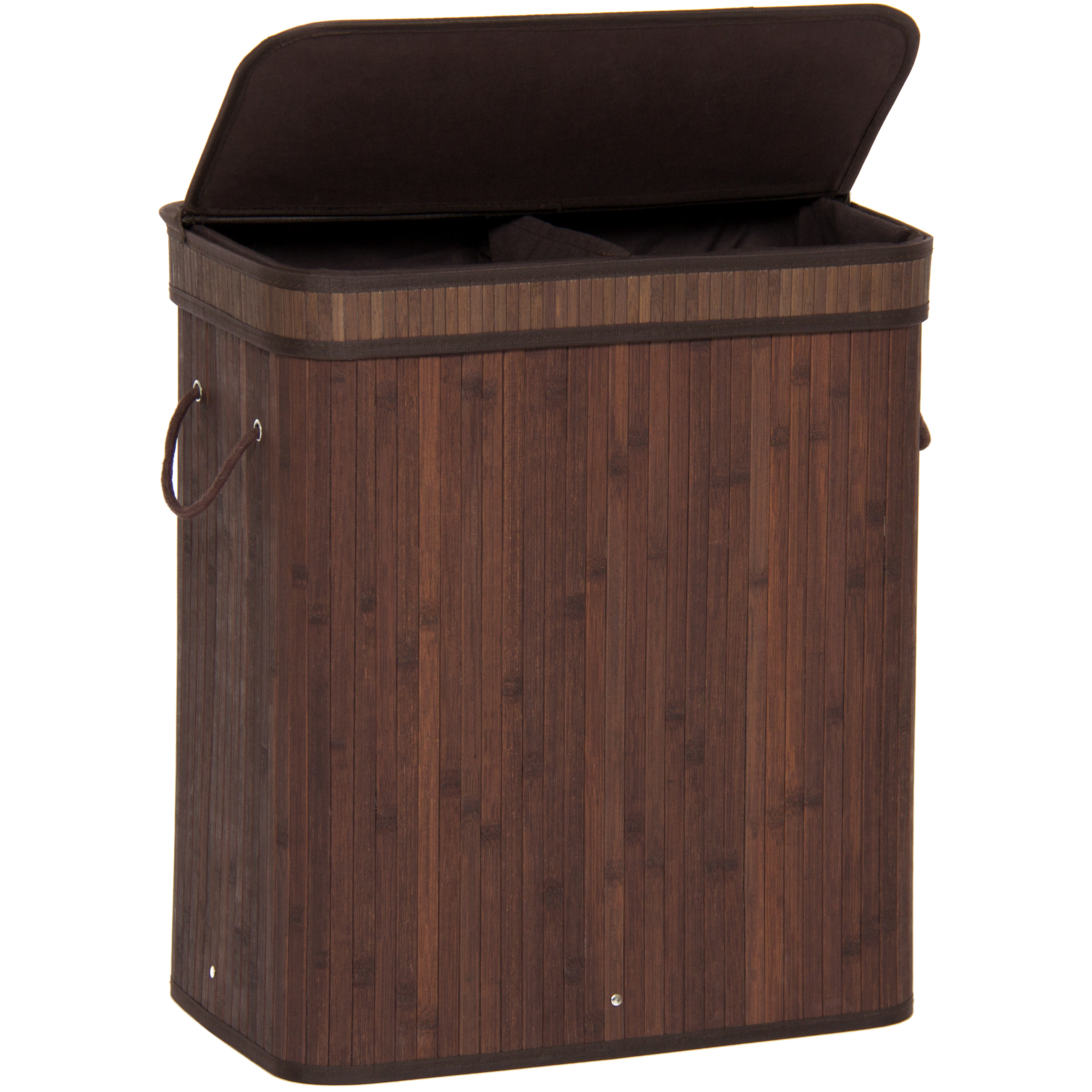 Best choice products bamboo double hamper laundry basket dark brown ebay - Laundry basket lights darks colours ...