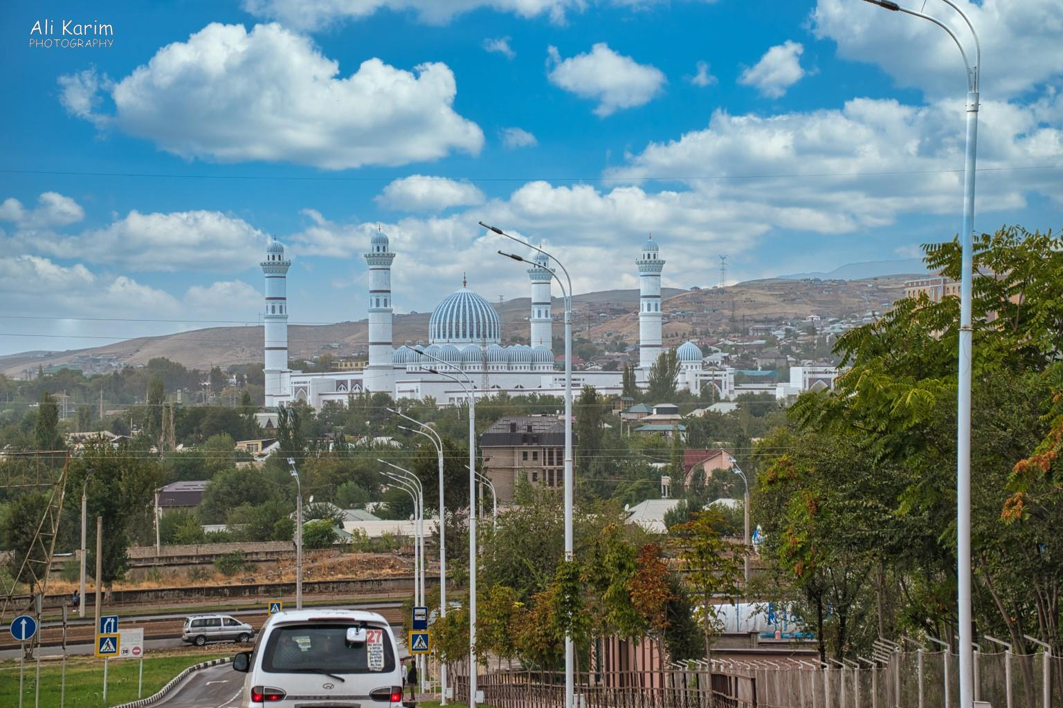 More Dushanbe, Tajikistan City scape with the new Omani mosque we had seen the previous night, in full glory