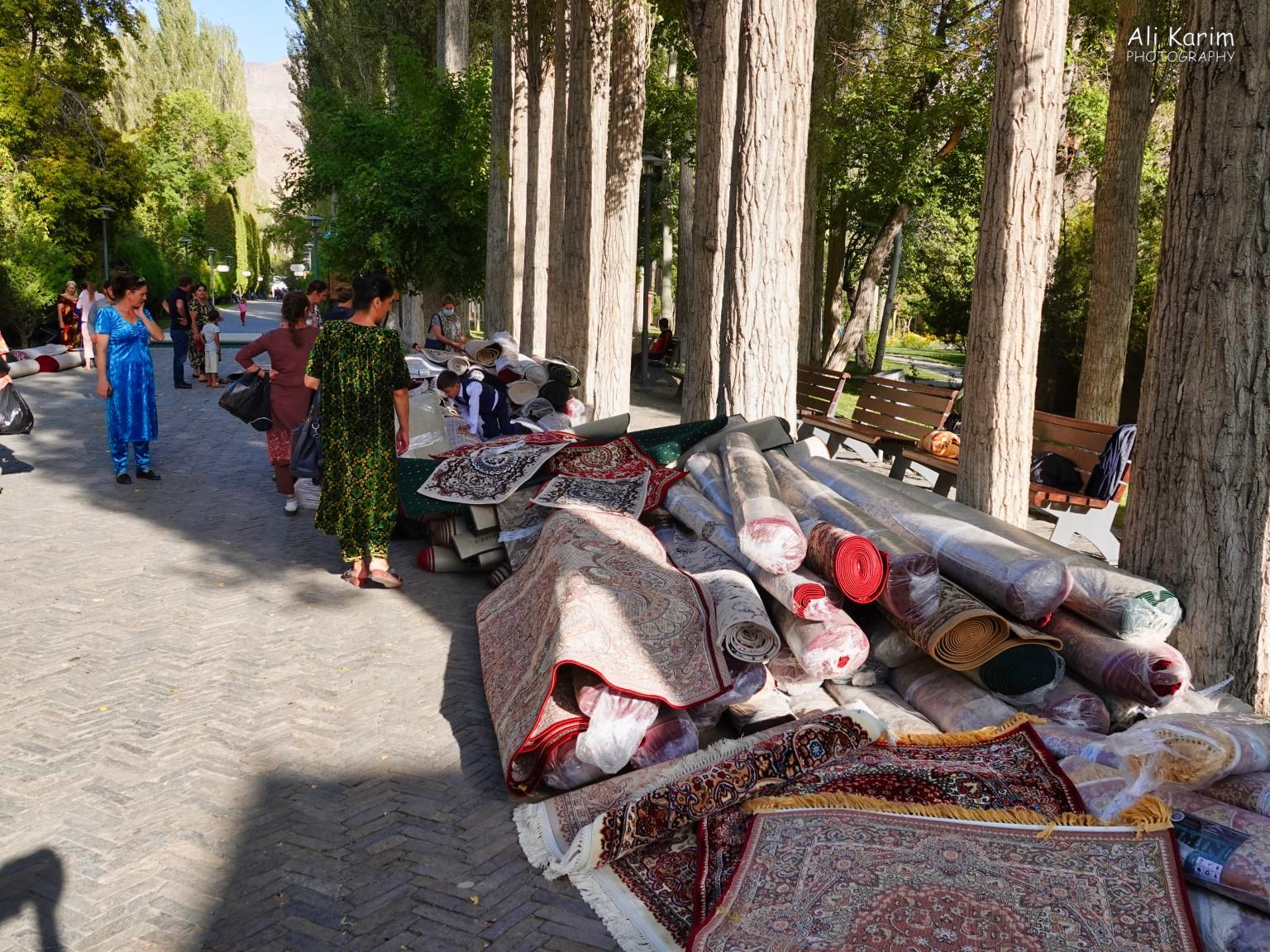 Onto Khorog, Tajikistan, Park entrance where carpets were on sale
