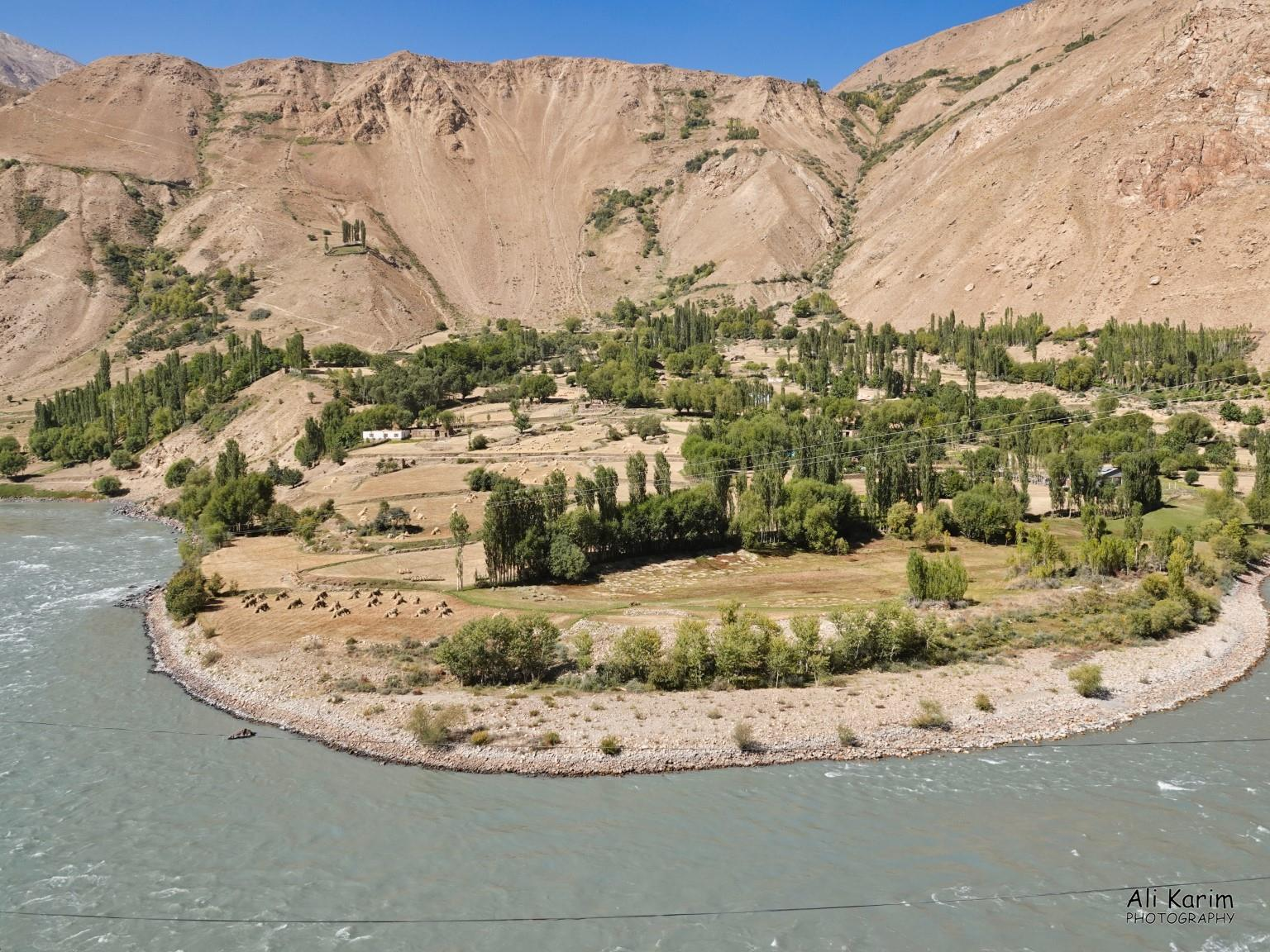 Onto Khorog, Tajikistan, Nice farming settlement in Afghanistan along the Panj river