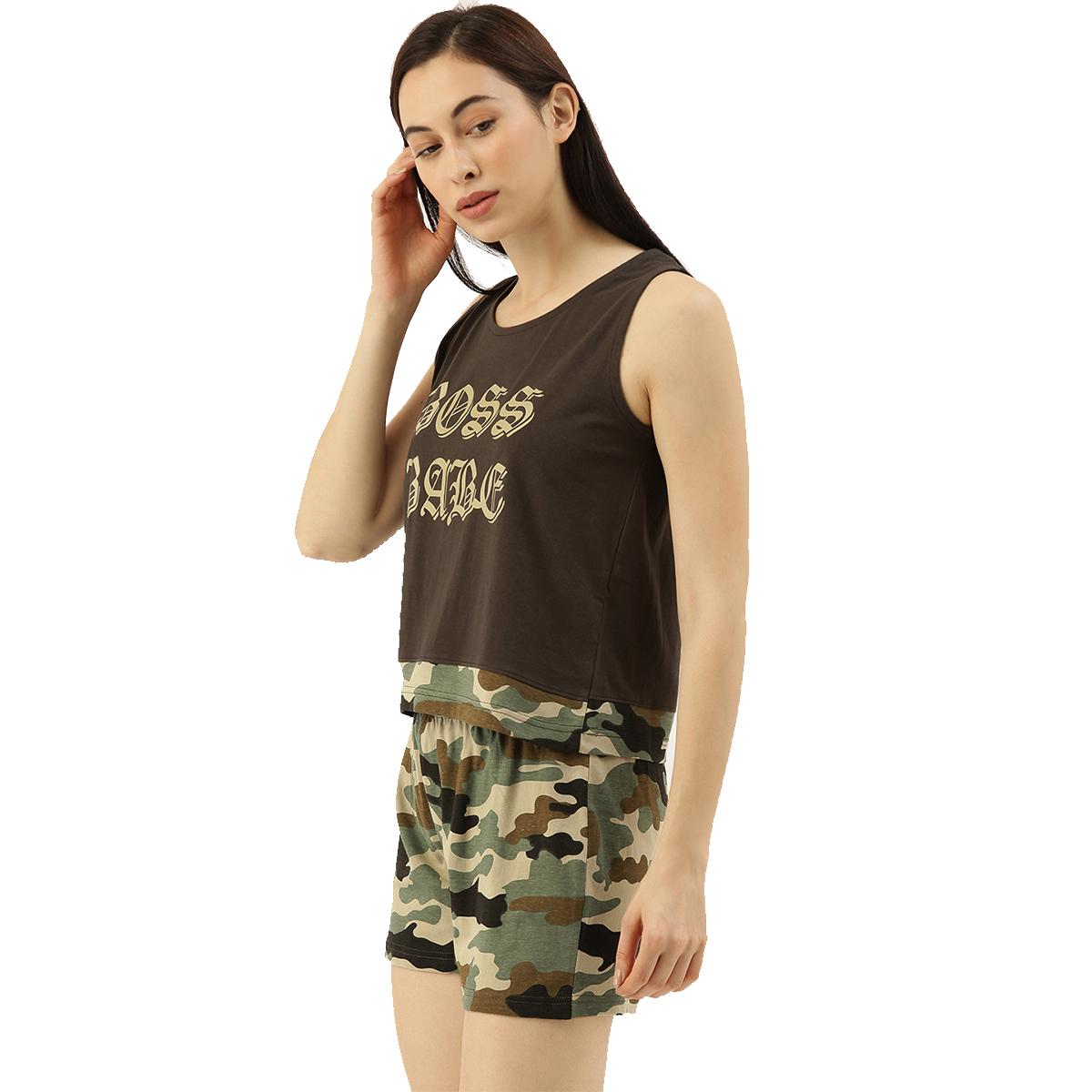 Slumber Jill Kaki Camouflage Shorts Set