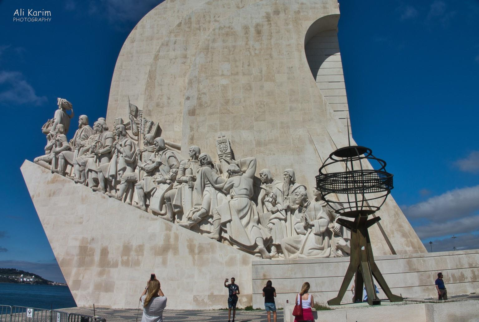 Lisbon Portugal: The Padrão dos Descobrimentos monument in Belem, which documents & honors the various Portuguese seagoing explorers & their financiers
