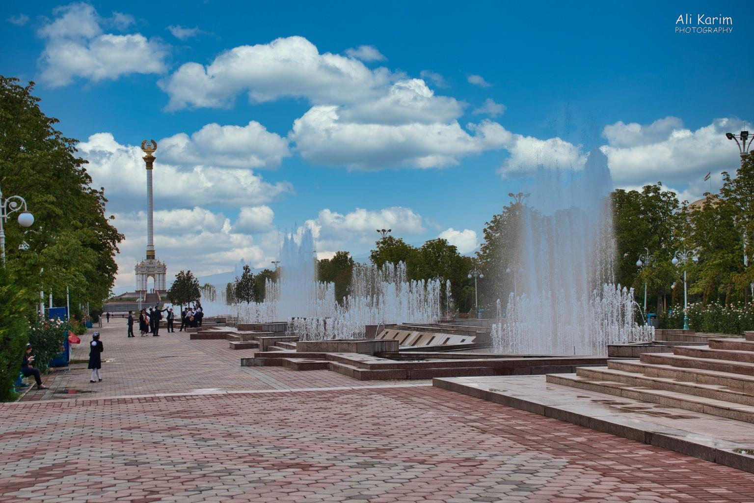 More Dushanbe, Tajikistan Fountains behind the Ismoil Somoni statue