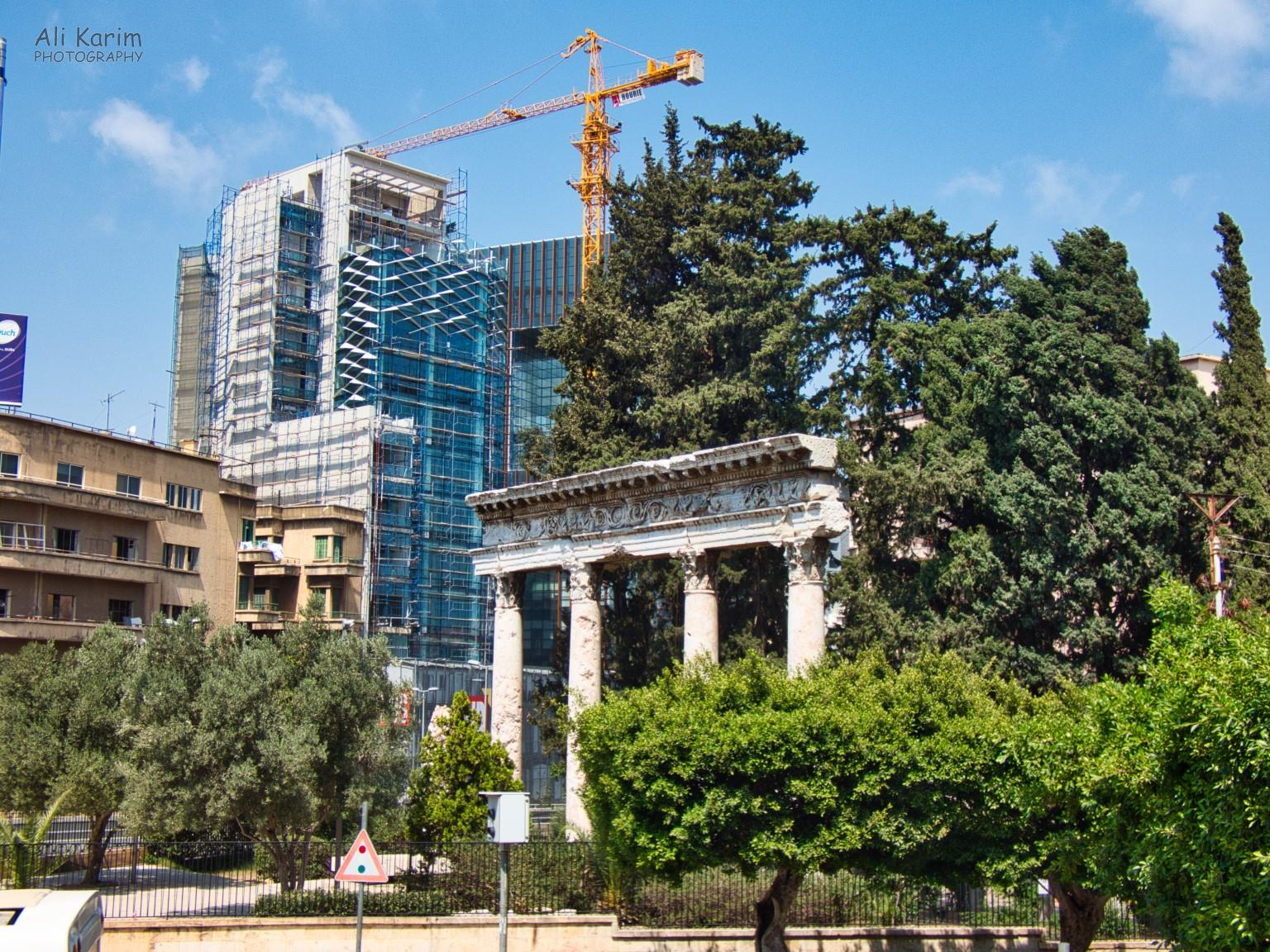 Ancient Roman structure (foreground) vs brand new building outside the National Museum