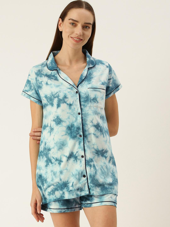 Slumber Jill Turq Blue Collar Shorts set