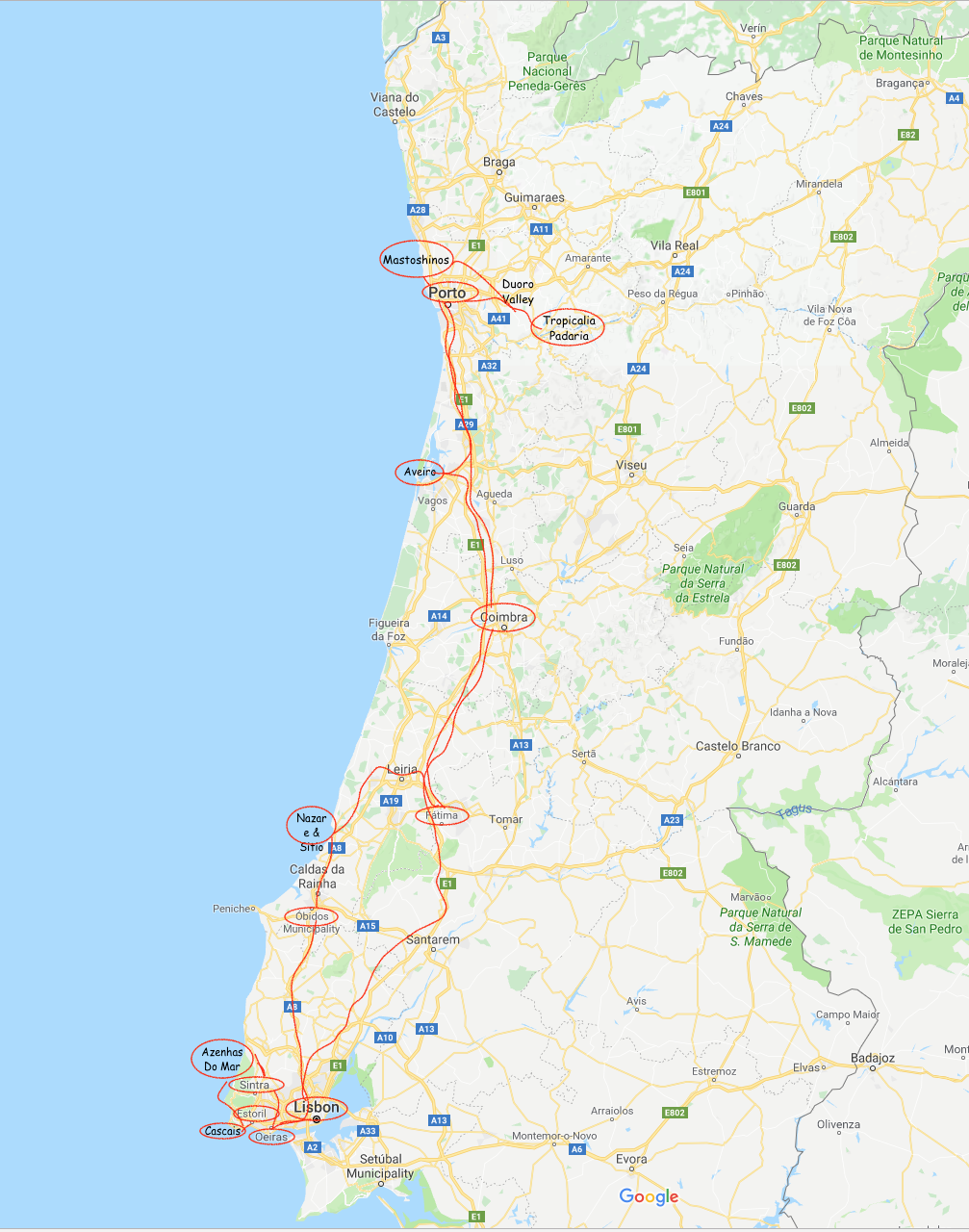 Porto Full Portugal trip map