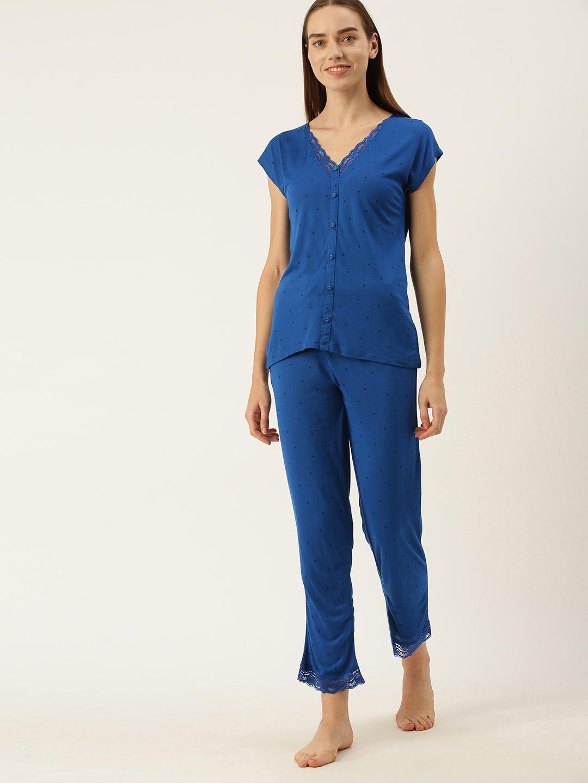 Slumber Jill Polka print lace blue Pyjama set