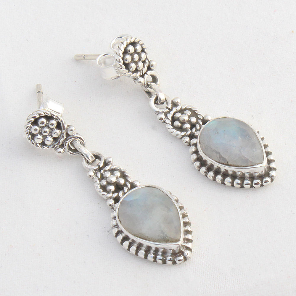 Rainbow-Moonstone-925-Sterling-Silver-Earrings-Round-Jewelry-Mothers-Day-Gift thumbnail 5