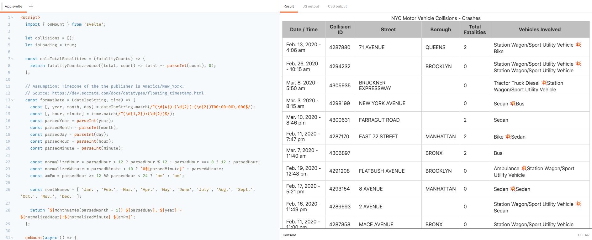 Demo - `onMount` Lifecycle Method - NYC Open Data API