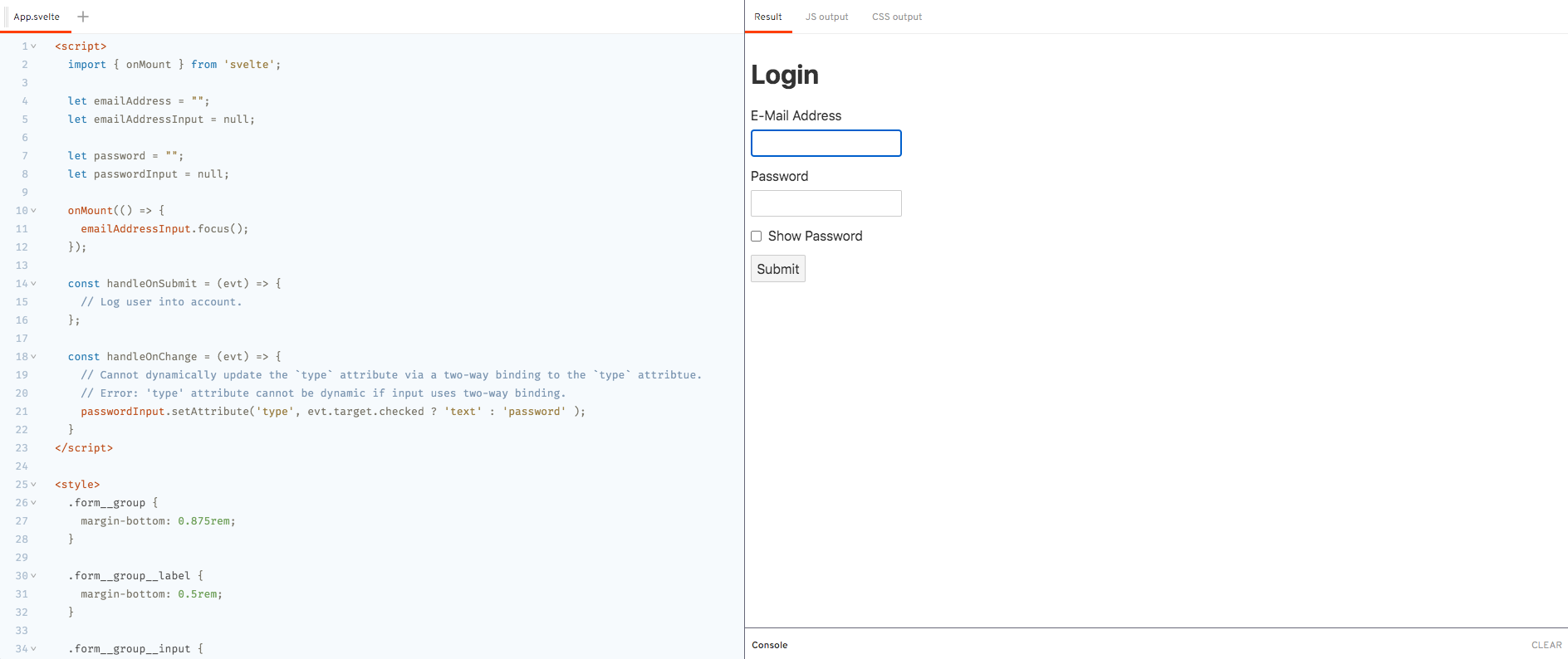 Demo - `onMount` Lifecycle Method - Login Form