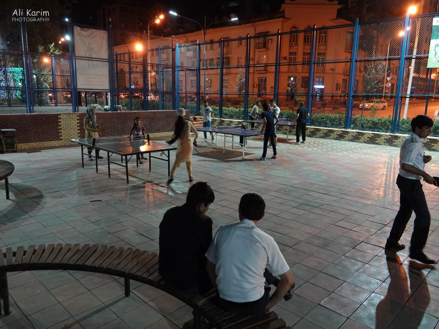 Dushanbe, Tajikistan Locals enjoying table tennis and indoor soccer inside one of the parks, at night, with families. Very safe.