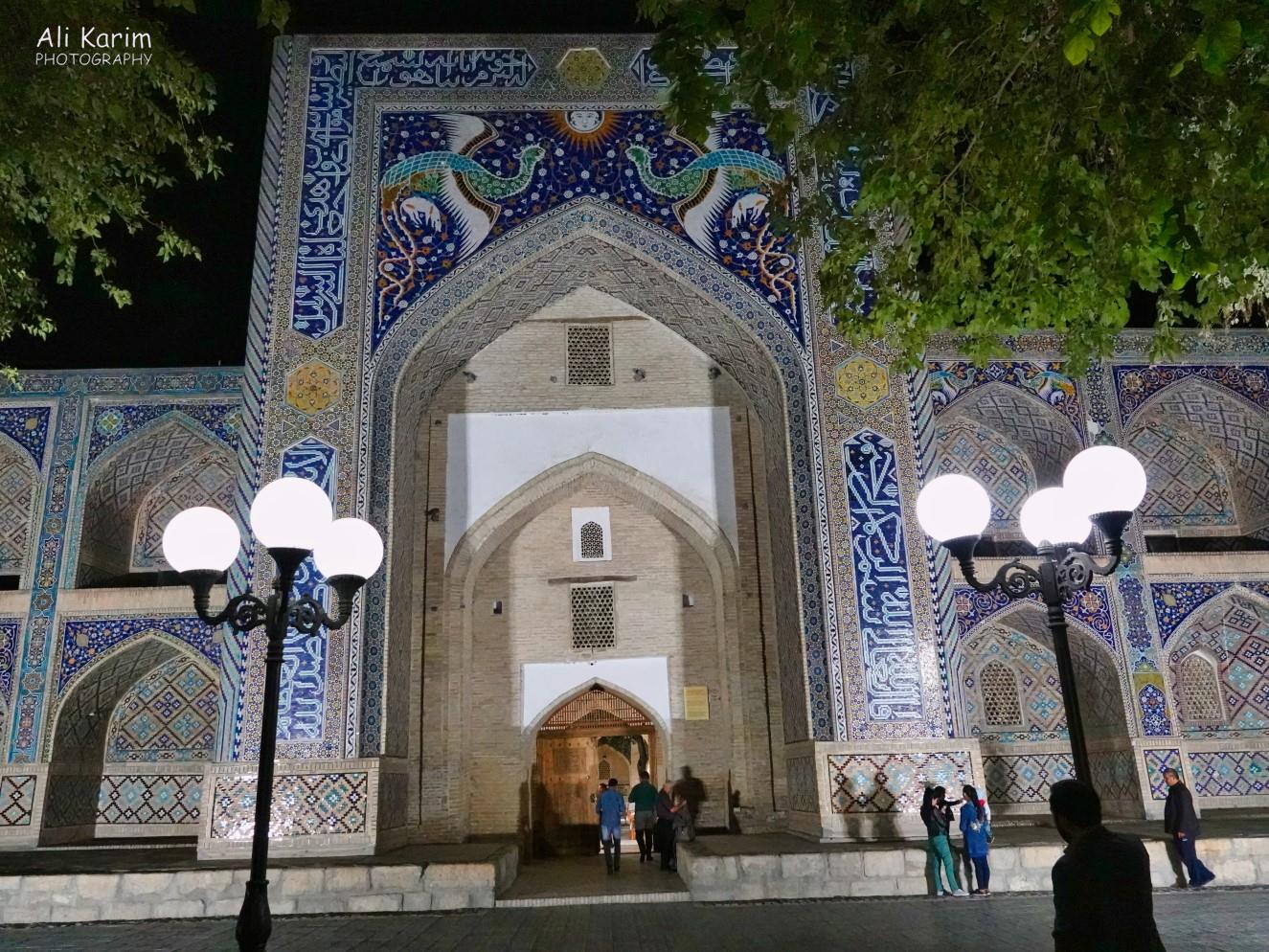 Bukhara, Oct 2019, The 16th Century Nadir Divan-Beghi Madrasah in the north end of the main square, just outside out hotel. Note the intricate mosaic tilework at the top of the archway, of the Simurgh, a mythical Persian bird, a symbol of benevolence and fertility