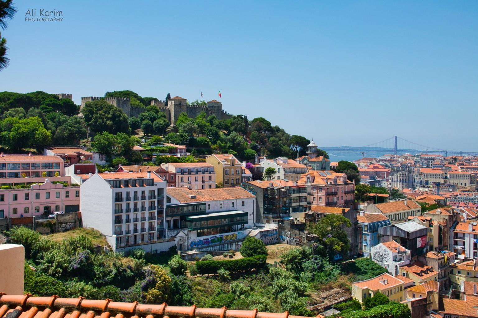 Lisbon Portugal: Beautiful view of the Moors Castle (Castelo de São Jorge) and the river Tagus from Miradouro de Santa Luzia
