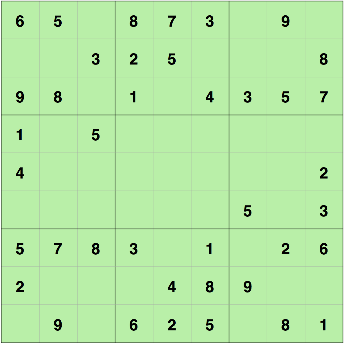 Unsolved sudoku using backtracking