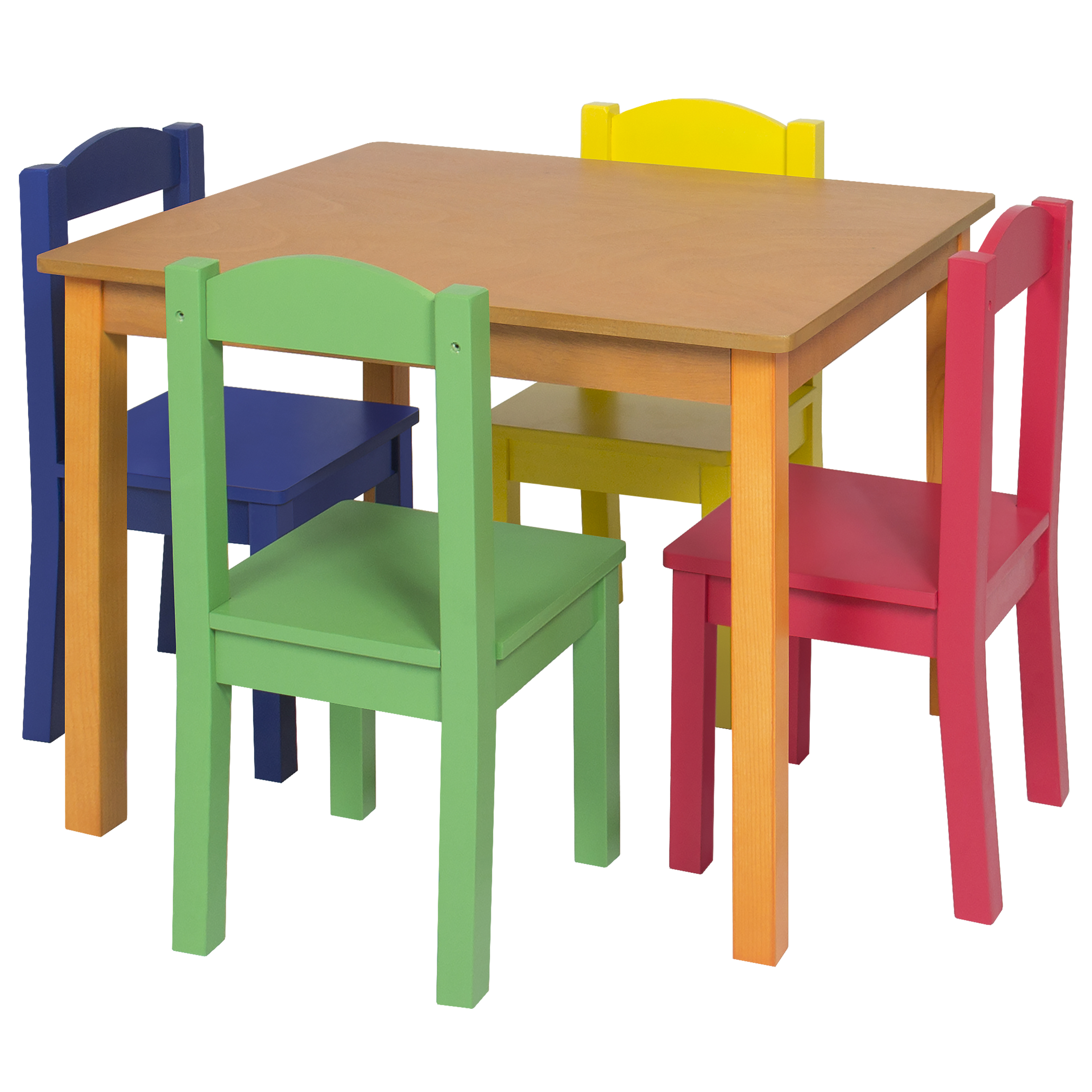 Kids wooden table and 4 chair set furniture primary for Table and 4 chairs set