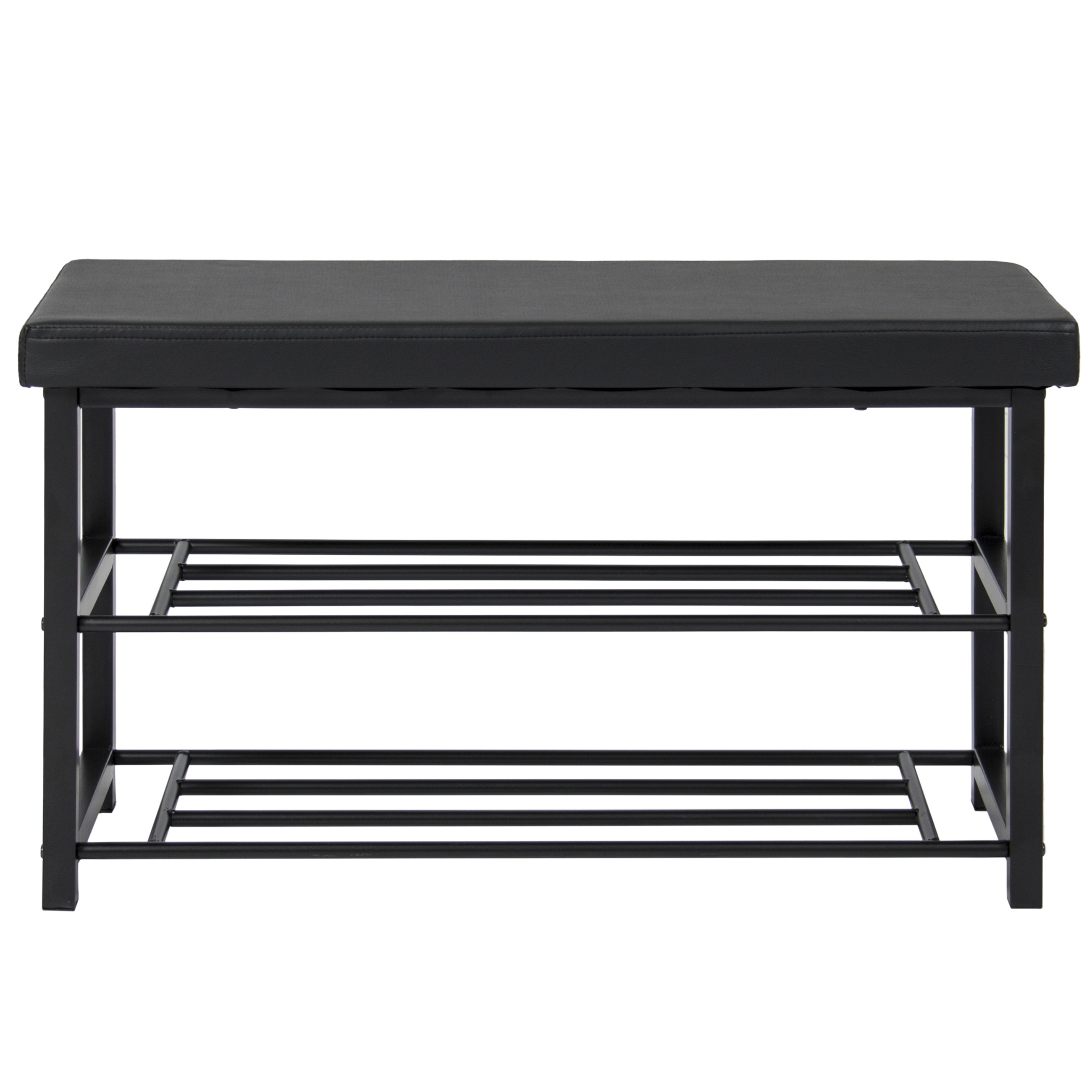 2 Tier Metal Storage Bench Shoe Rack Organize W Leather Top Black Ebay