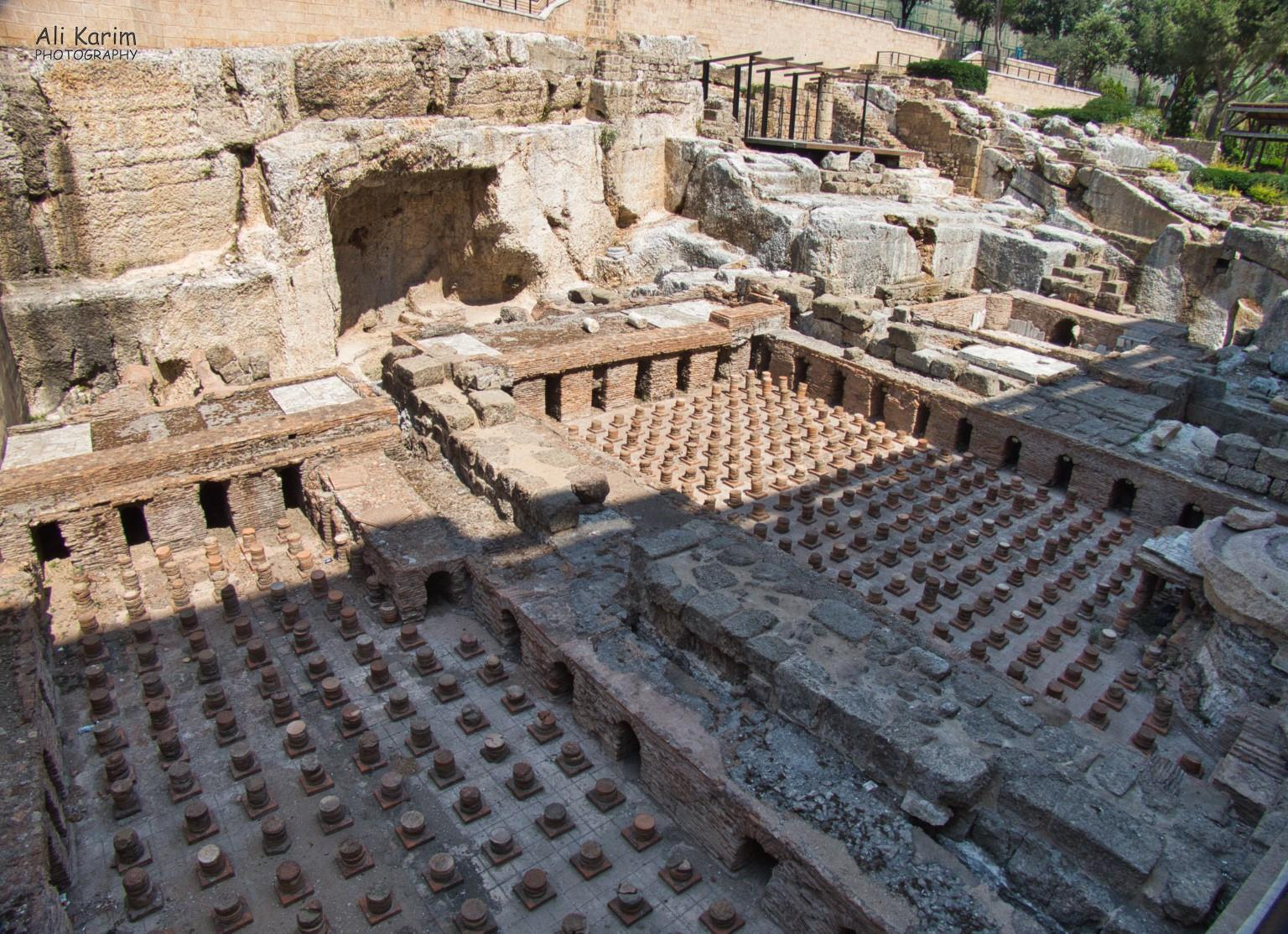 Beirut Old Roman baths; the small pillars held a raised floor under which the hot water and steam circulated to provide hot water and steam for the baths