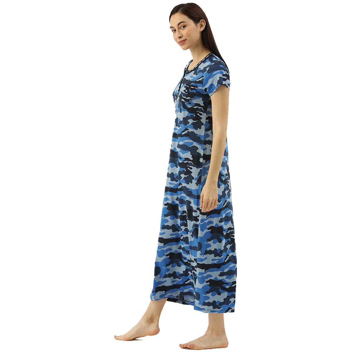 Slumber Jill Blue Camouflage Night Dress