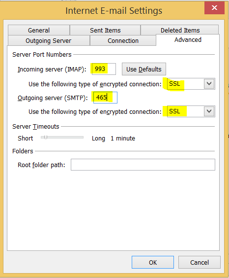 IMAP/SMTP Setting in order to Configure Gmail in Outlook