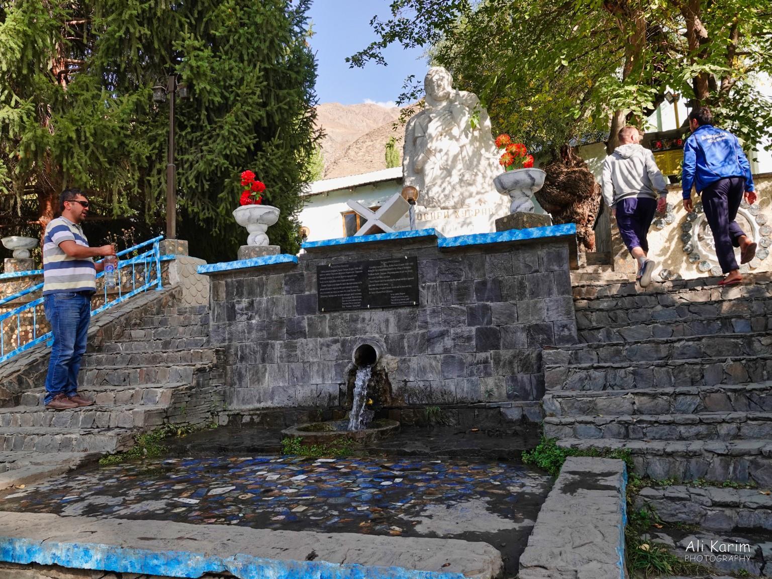 Dushanbe, Tajikistan Nasir Khusraw springs with his statue