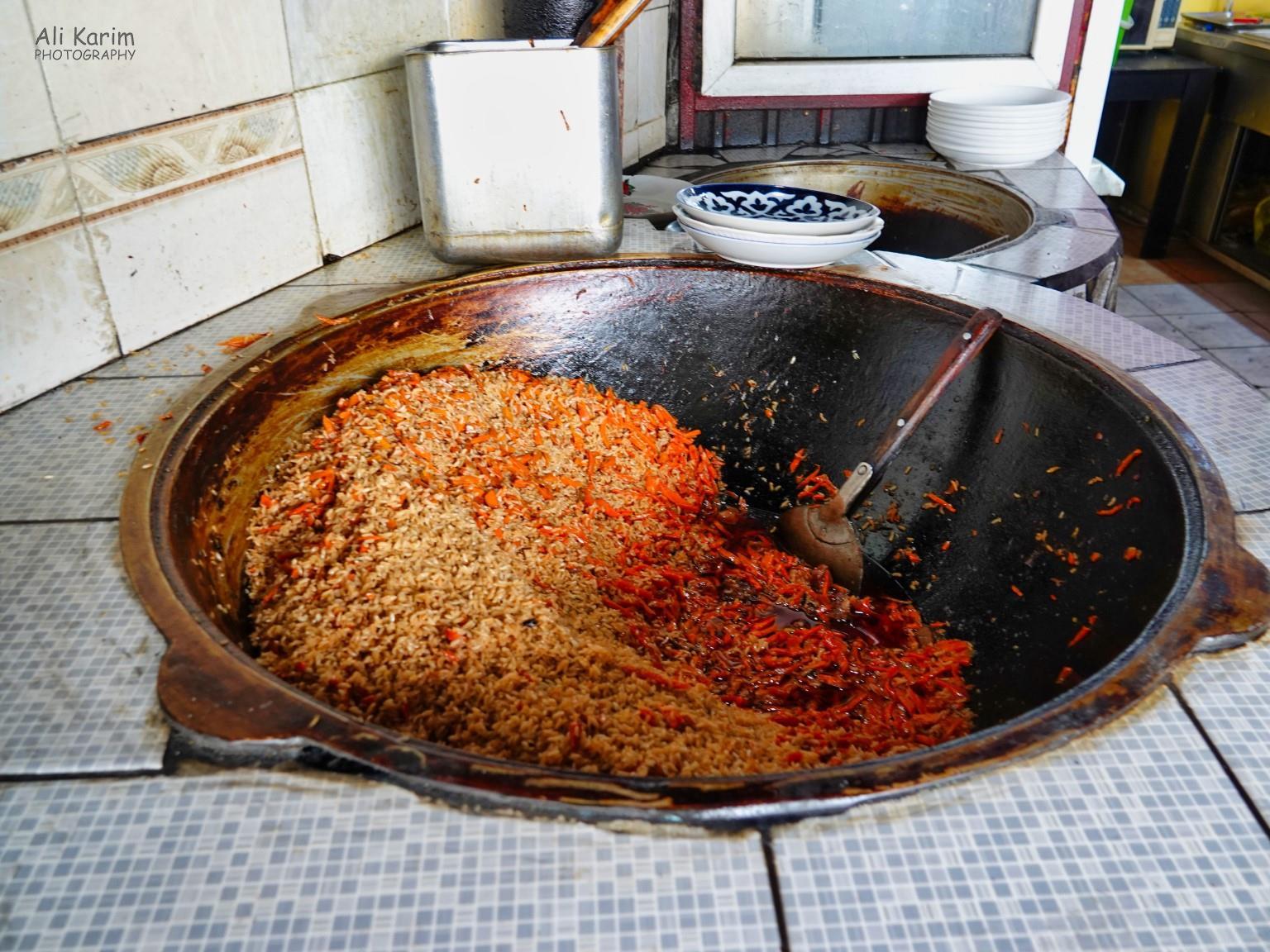 More Dushanbe, Tajikistan Plov, the national dish, was on sell in open air restaurants inside Korvon market