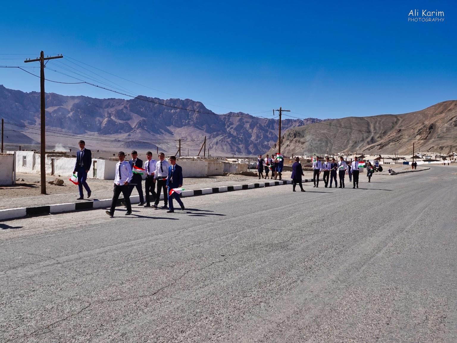 More Murghab & Alichur, Tajikistan, School kids out on a break; all in nice uniforms. Unfortunately, we did not have time to stop and talk to them