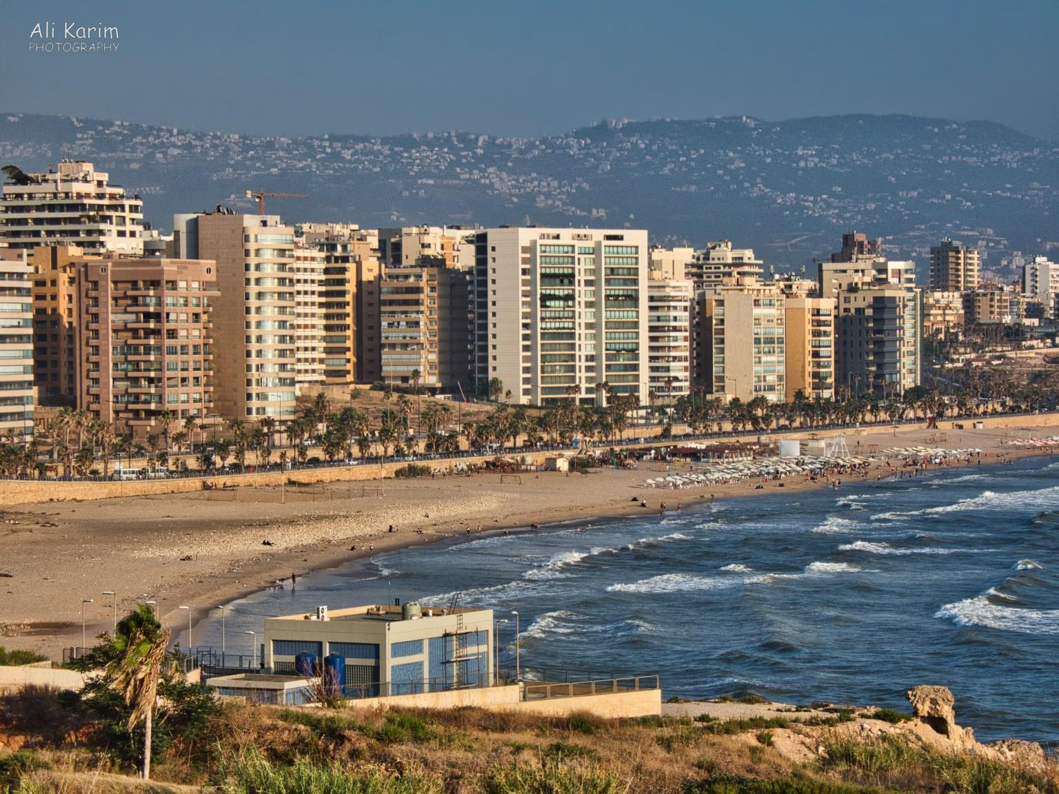 Beirut beach, and southern Beirut all over the hills in the background