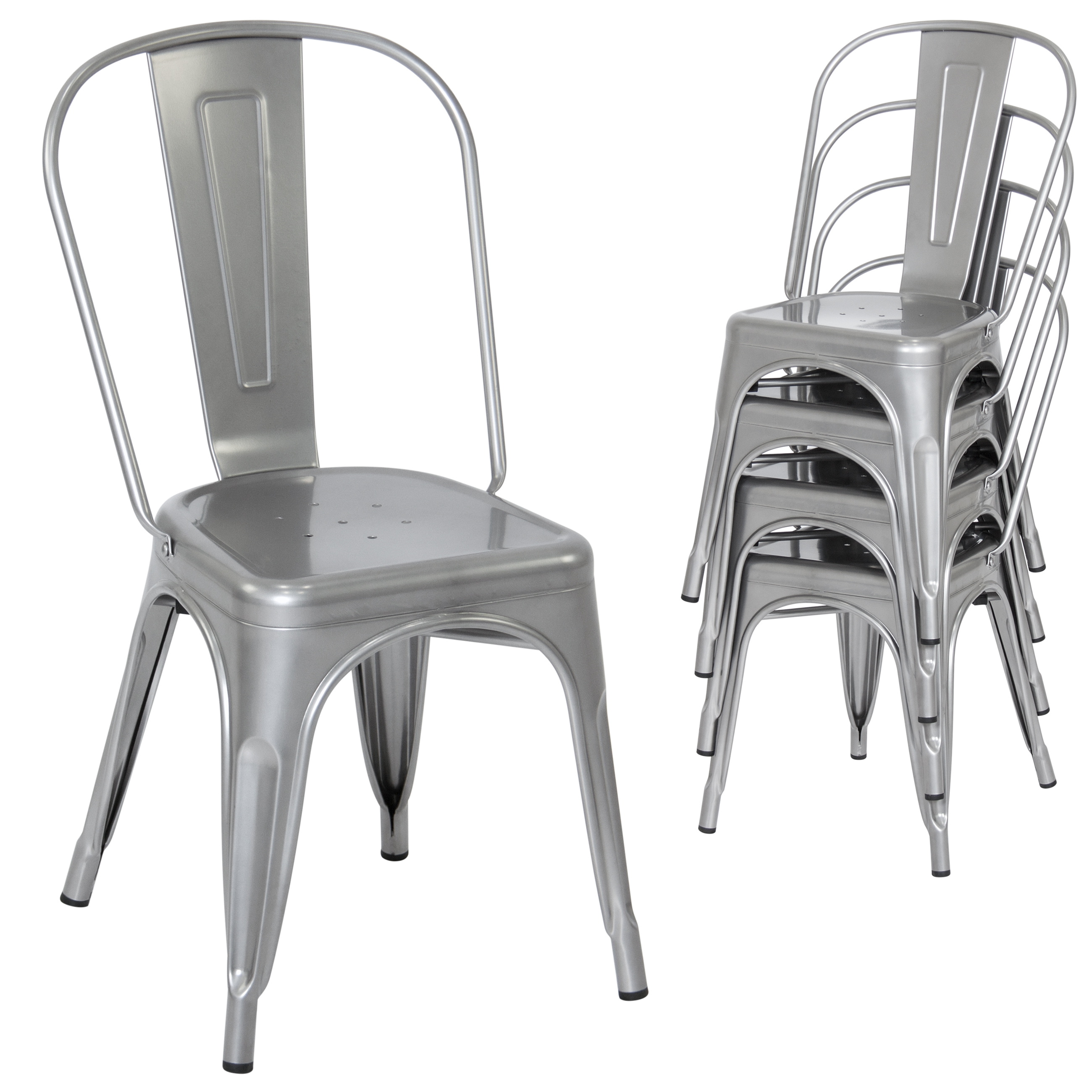 metal dining room chair | Set of 4 Stacking Metal Industrial Style Dining Chairs ...