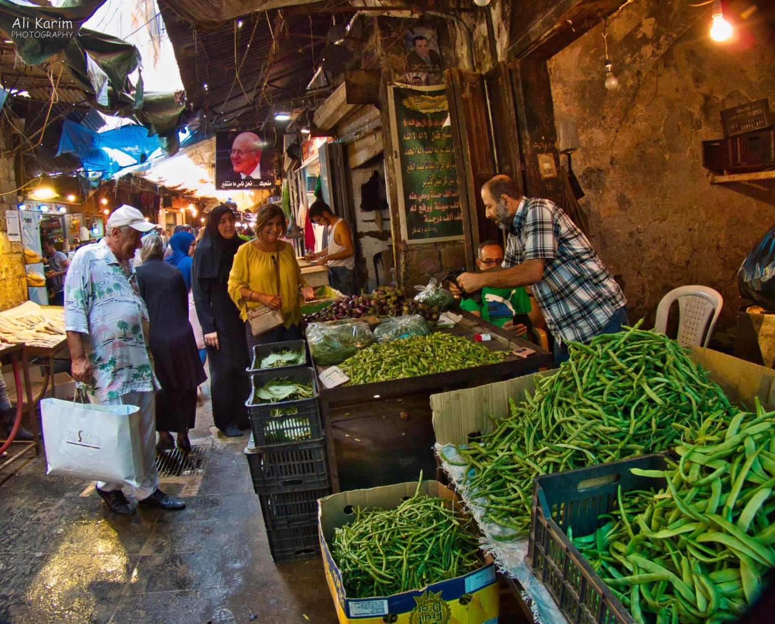 Tripoli Lebanon Busy souk with lots of food