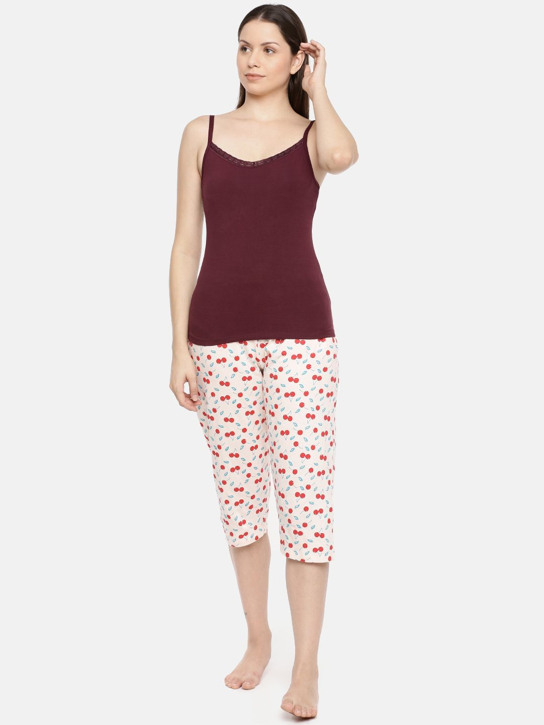 Slumber Jill Camisole with Bust Support in Colour -Bordeaux