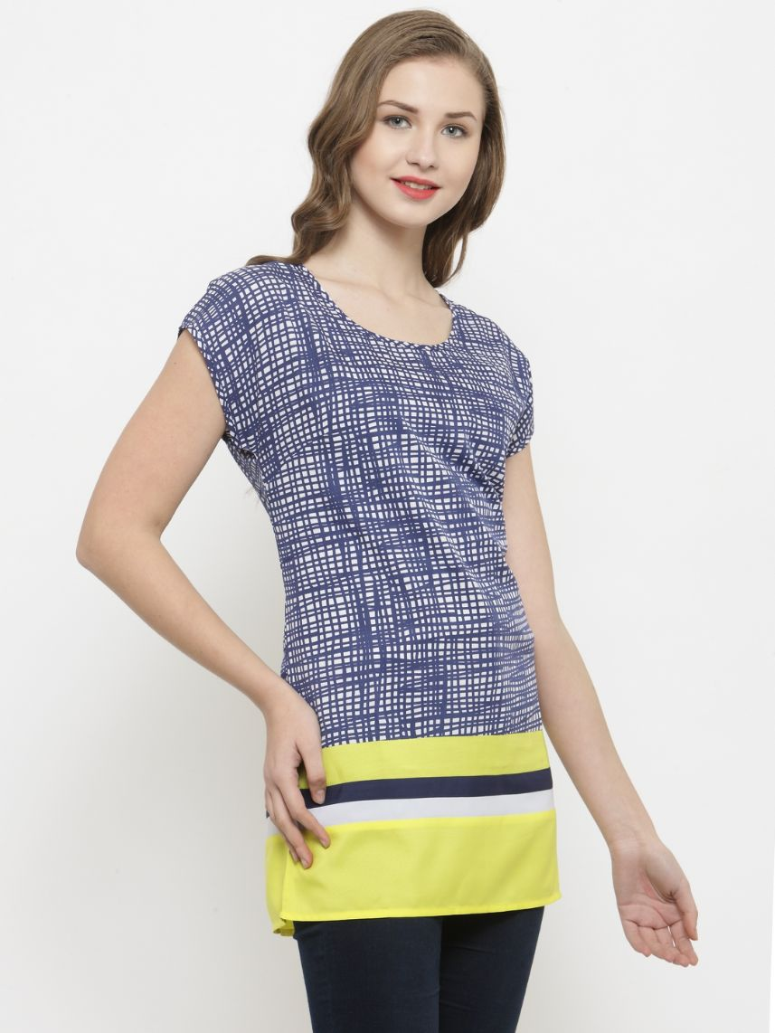 Querida Messy Lines Blue / Yellow Tunic Top