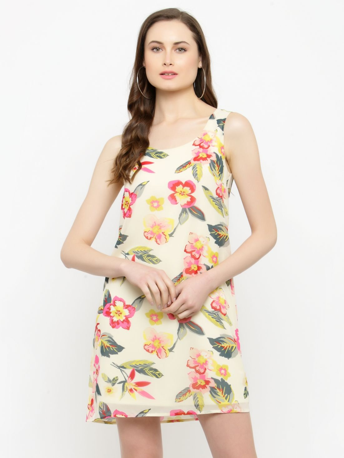 Querida Ecru Floral Print Dress with Lining