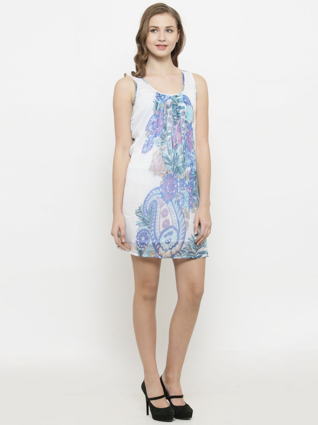 Querida White-Blue Big Floral Print Dress with Lining