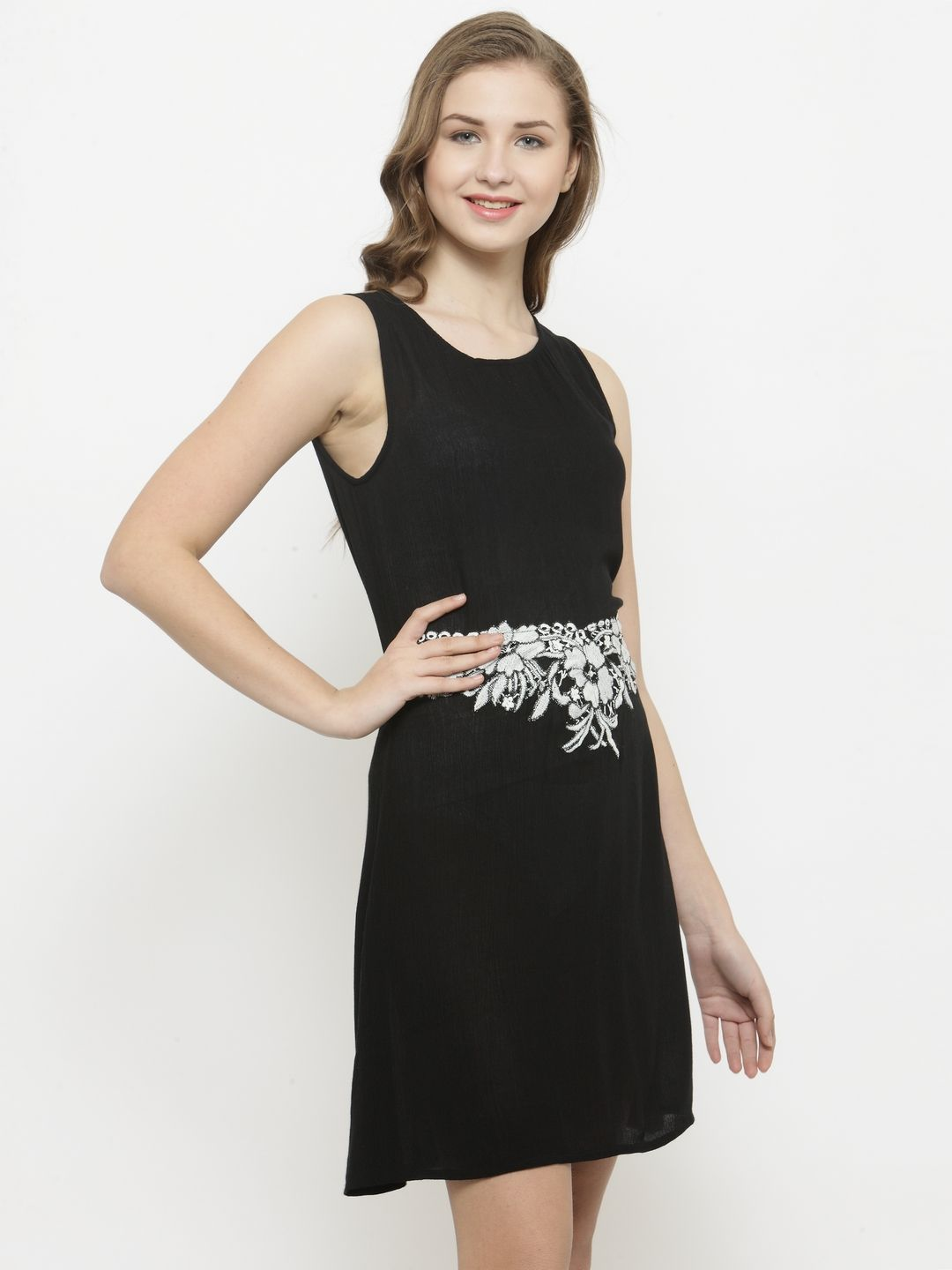 Querida Little Black Dress with Embroidery at waist