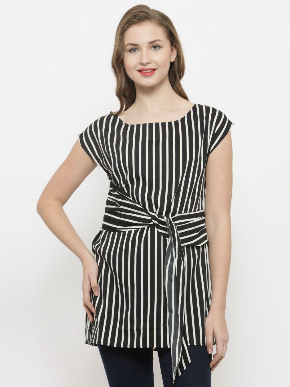 Querida Black / White Vertical Stripes Tunic Top