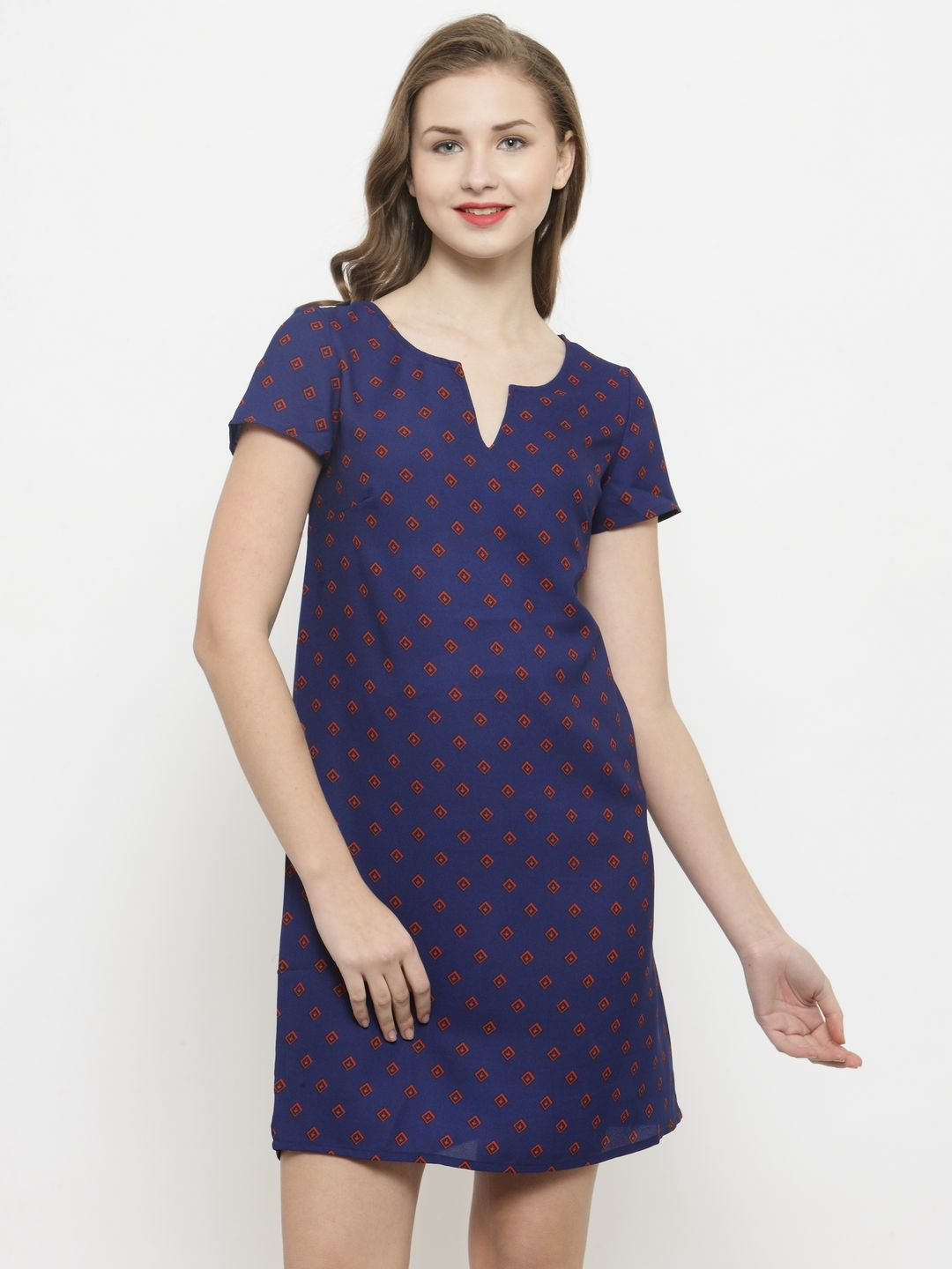 Querida Blue AOP Germetric print Dress