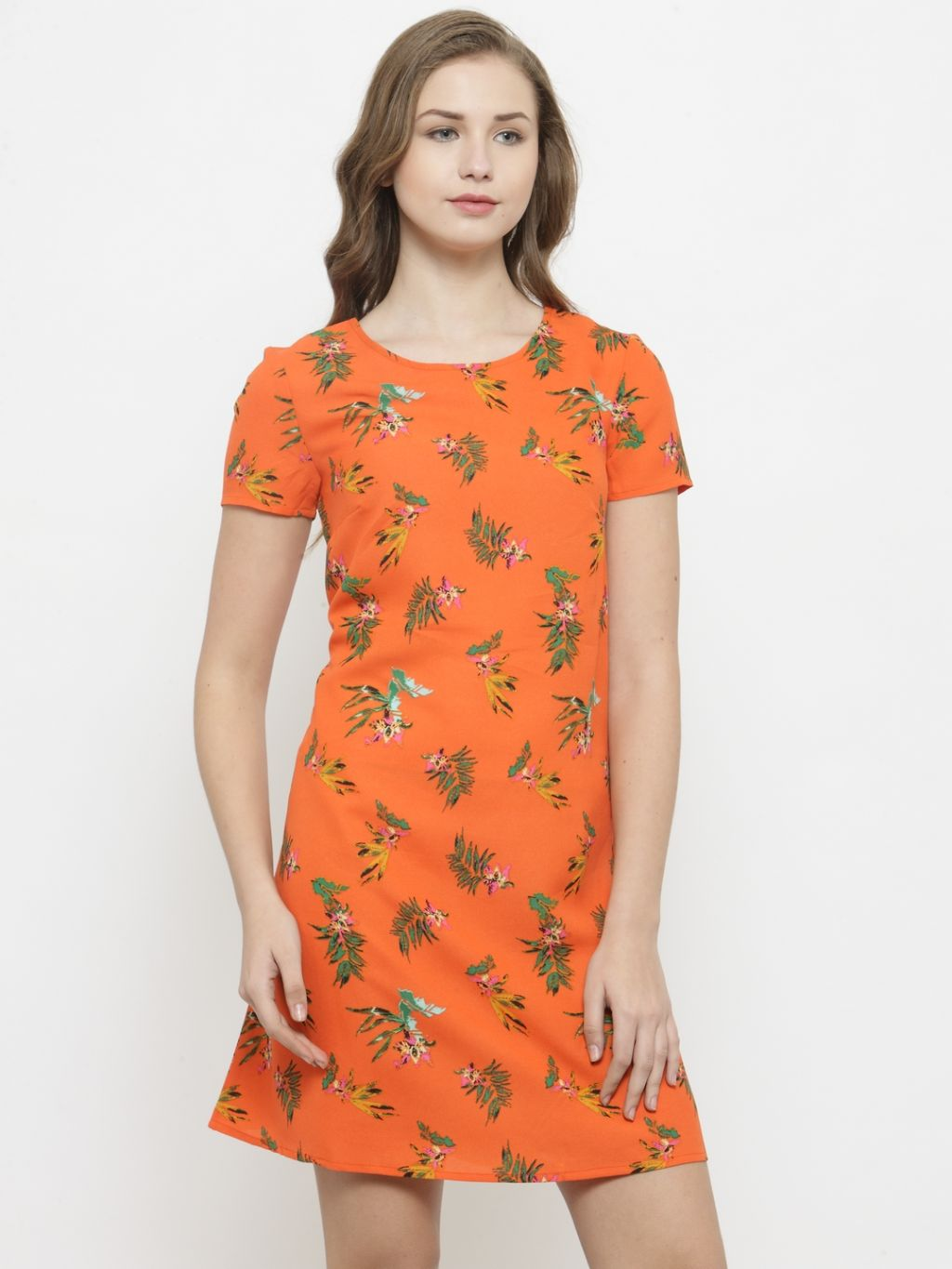 Querida Orange Leaf & Flower Print Dress