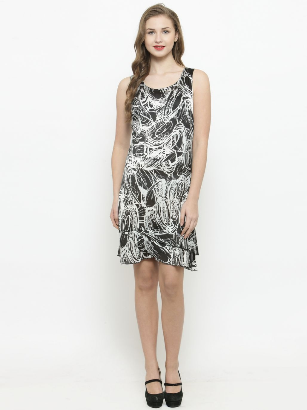 Querida Black / White Printed Uneven Bottom Dress